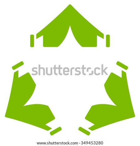 Tent Camp vector icon. Style is flat symbol, eco green color, rounded angles, white background.