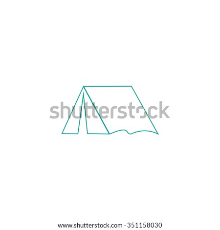 tent Outline vector icon on white. Line symbol pictogram