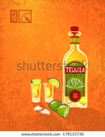 Tequila & Lime. Vector illustration, eps10, editable. - stock vector