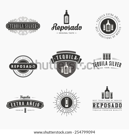 Tequila Retro Vintage Labels Hipster Logo design vector typography lettering templates.  Old style elements, logos, logotypes, label, badges, stamps and symbols - stock vector