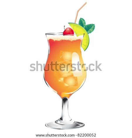 Tequila Sunrise cocktail isolated on a white - stock vector