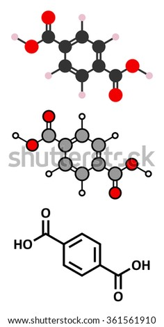 Terephthalic acid, polyester (PET, polyethylene terephthalate) plastic building block. Stylized 2D renderings and conventional skeletal formula.  - stock vector