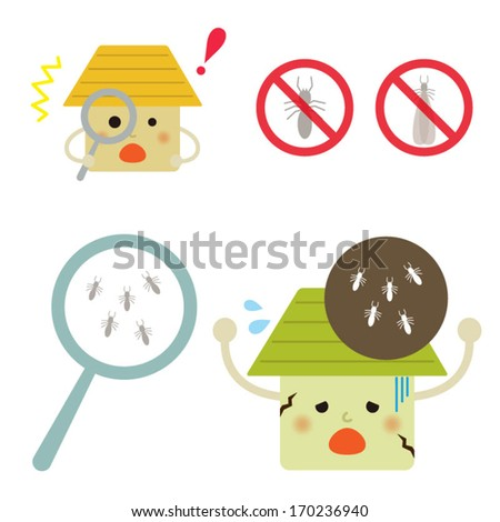 Termite damage house. Vector EPS 10 illustration - stock vector