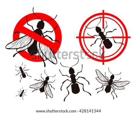 termite or ant. pest control icons set. vector insects. prohibitory sign and a target - stock vector