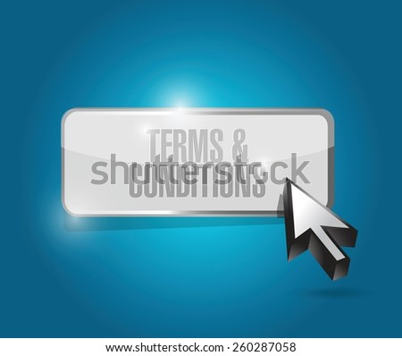 terms and conditions button illustration design over blue - stock vector