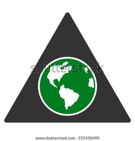 Terra Triangle vector icon. Style is bicolor flat symbol, green and gray colors, rounded angles, white background.