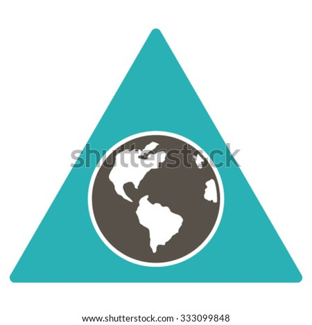 Terra Triangle vector icon. Style is bicolor flat symbol, grey and cyan colors, rounded angles, white background.