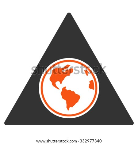 Terra Triangle vector icon. Style is bicolor flat symbol, orange and gray colors, rounded angles, white background.