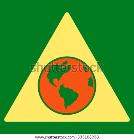 Terra Triangle vector icon. Style is bicolor flat symbol, orange and yellow colors, rounded angles, green background.