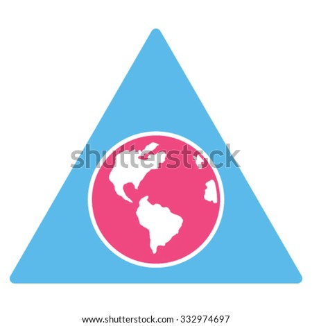 Terra Triangle vector icon. Style is bicolor flat symbol, pink and blue colors, rounded angles, white background.