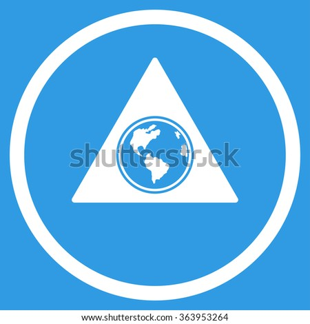 Terra Triangle vector icon. Style is flat circled symbol, white color, rounded angles, blue background. - stock vector