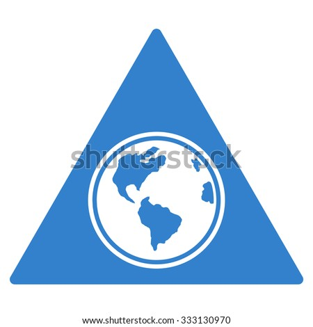 Terra Triangle vector icon. Style is flat symbol, cobalt color, rounded angles, white background. - stock vector