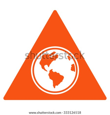 Terra Triangle vector icon. Style is flat symbol, orange color, rounded angles, white background.