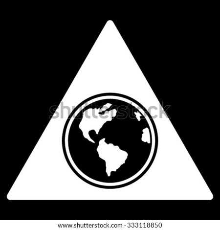 Terra Triangle vector icon. Style is flat symbol, white color, rounded angles, black background. - stock vector