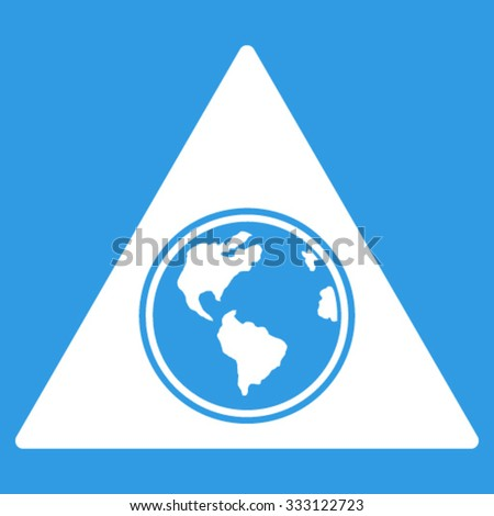 Terra Triangle vector icon. Style is flat symbol, white color, rounded angles, blue background.