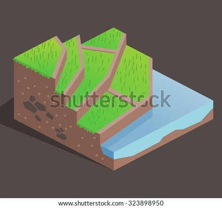 Terrace Farming On A Hill. Isometric Vector Illustration