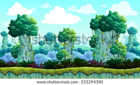 Terrain Forest Game Background - stock vector