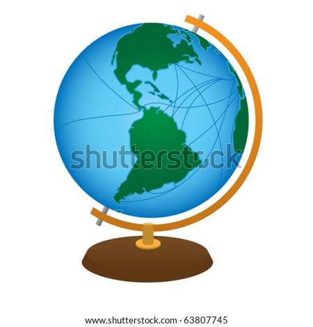 terrestrial globe isolated on a white background - stock vector