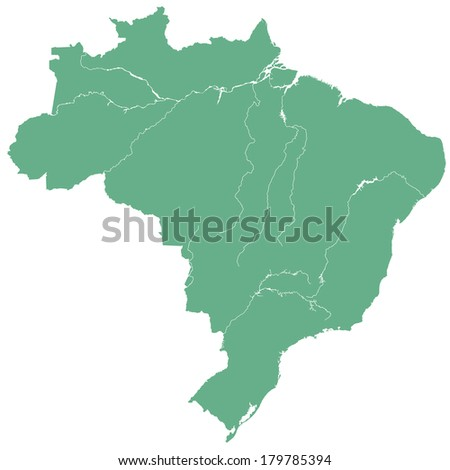 Terrestrial silhouette map of the Brazil