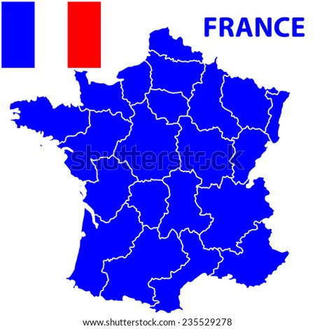 Terrestrial silhouette map of the France and flag. All objects are independent and fully editable  - stock vector