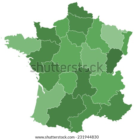 Terrestrial silhouette map of the France with regions. All objects are independent and fully editable.  - stock vector