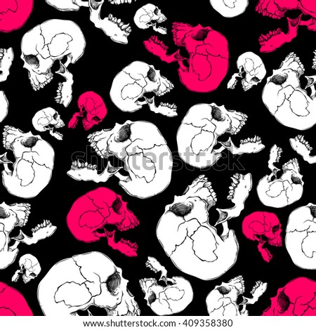 Terrible frightening seamless pattern with skull in cartoon style - stock vector