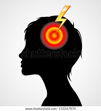 Terrible headache woman silhouette isolated on white background - stock vector