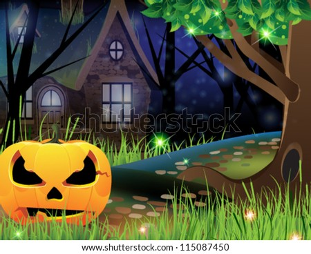 Terrible pumpkin monster on a footpath near a lonely forest lodge - stock vector