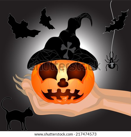 Terrible Pumpkin on a hand at witch.Halloween. Halloween banner. Vector illustration