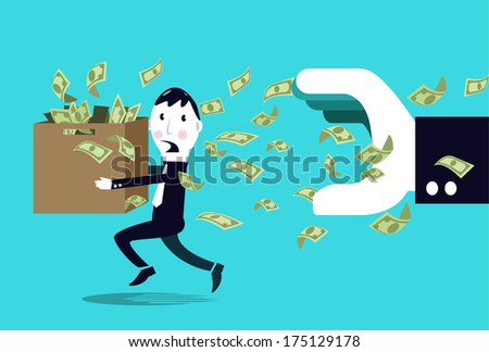 Terrified businessman hiding money from a big businessman hand. Business concept. vector