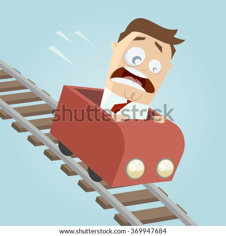 terrified businessman in a roller coaster - stock vector