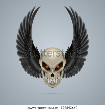 Terrifying mutant skull with long fangs and black wings - stock vector