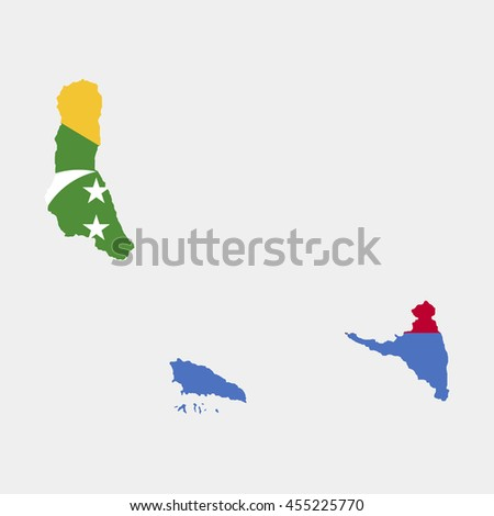 Territory and flag of Comoros - stock vector