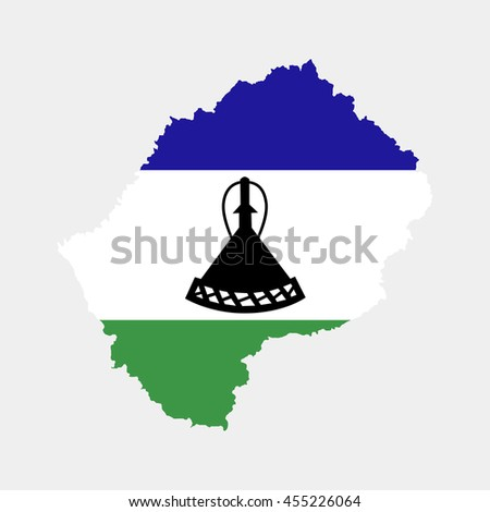 Territory and flag of Lesotho - stock vector