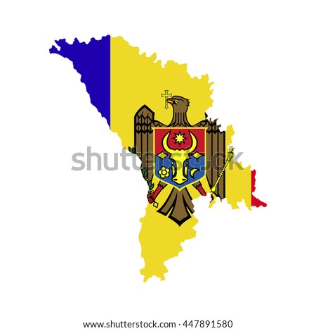 Territory and flag of Moldova - stock vector