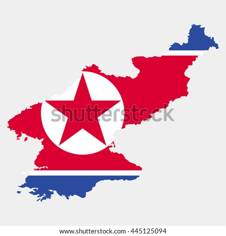 Territory and flag of North Korea - stock vector
