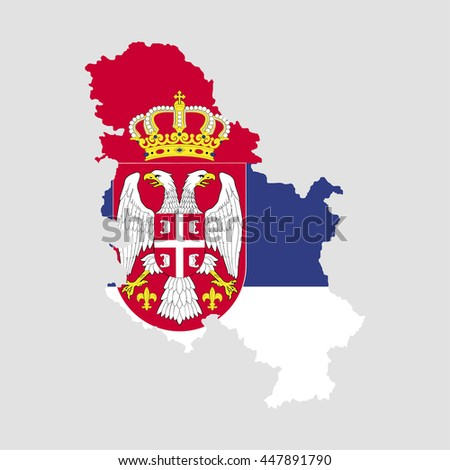 Territory and flag of Serbia - stock vector
