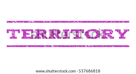 Territory watermark stamp. Text caption between horizontal parallel lines with grunge design style. Rubber seal stamp with dirty texture. Vector violet color ink imprint on a white background.