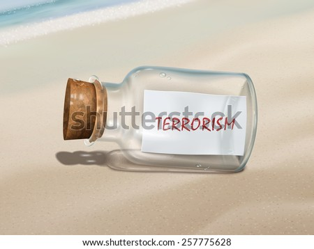 terrorism message in a bottle isolated on beautiful beach - stock vector