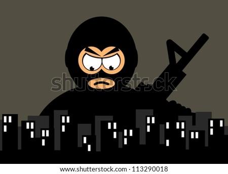 terrorist - stock vector