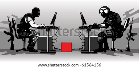 Terrorist and counter-terrorist playing a LAN video game - stock vector