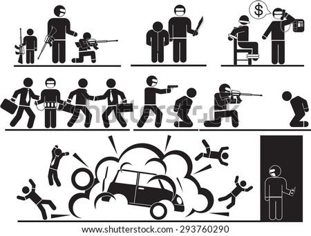 Terrorist and Sabotage icon set - stock vector