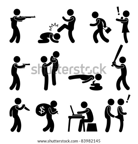 Terrorist Crime Bad Violence Kill Murder Snatch Thief Criminal Icon Symbol Sign Pictogram