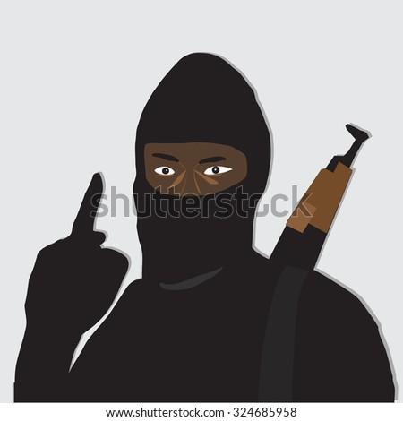 Terrorist points finger,vector illustrator - stock vector