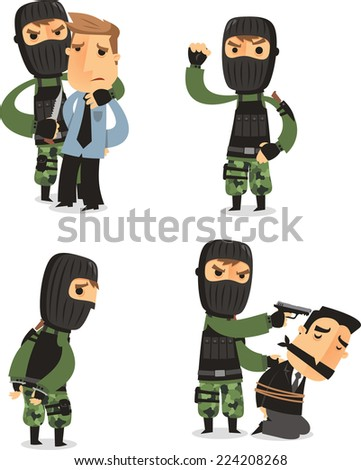 Terrorist Set with Mask Gun and Camouflage clothes, with terrorist in four different situations vector illustration cartoon. - stock vector