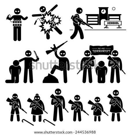 Terrorist Terrorism Suicide Bomber Stick Figure Pictogram Icons - stock vector