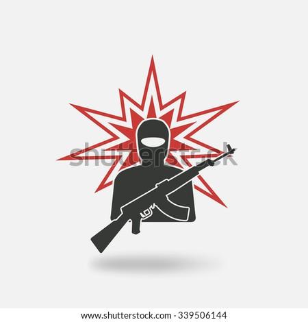 terrorist with gun. vector illustration - eps 10 - stock vector