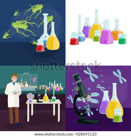 test equipment in science laboratory set, chemistry lab research concept, chemical tube and medicine liquid glass in medical experiment.Scientific laboratory,pharmacy technology test equipment - stock vector