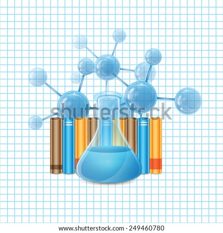Test tube and molecule and books - stock vector
