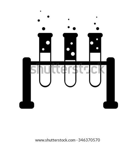 Test-tube icon, set three, black and white - stock vector